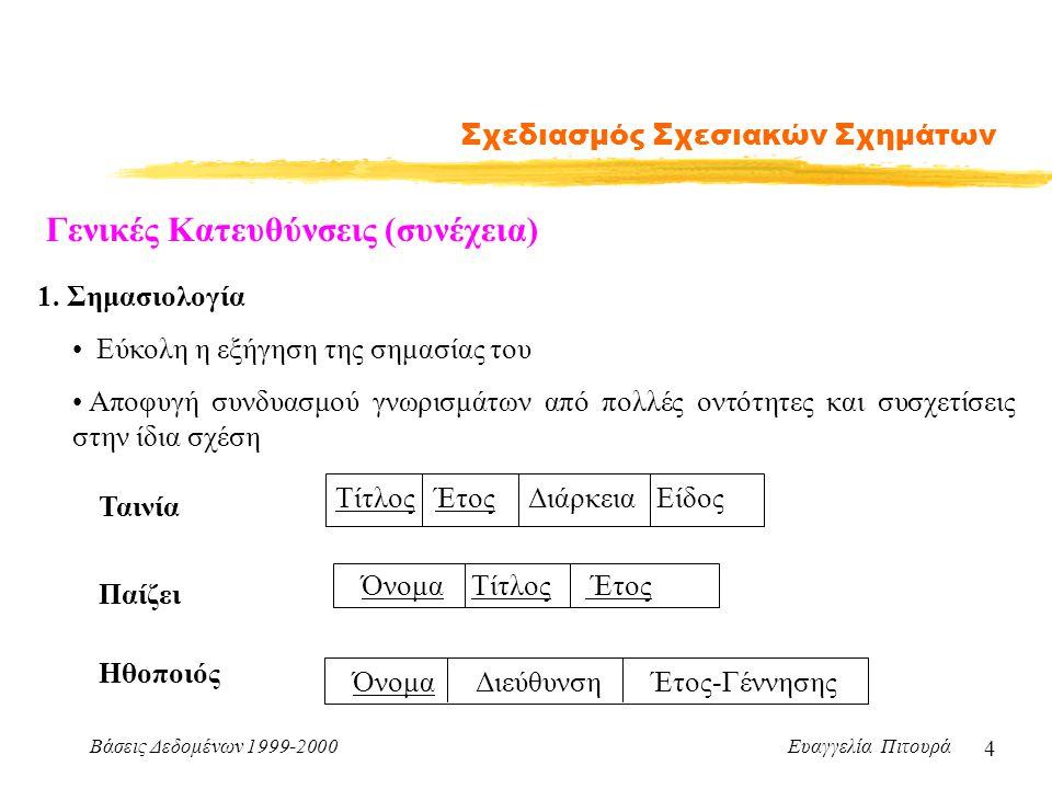 Βάσεις Δεδομένων 1999-2000 Ευαγγελία Πιτουρά 15 Σχεδιασμός Σχεσιακών Σχημάτων Επιθυμητές Ιδιότητες Αποσύνθεσης 1.