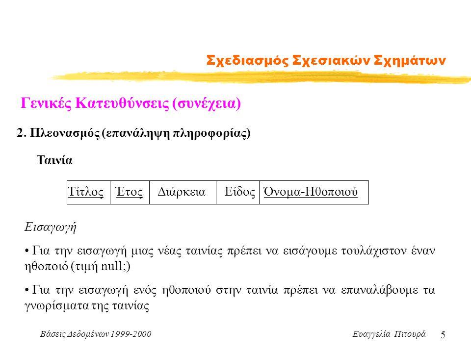 Βάσεις Δεδομένων 1999-2000 Ευαγγελία Πιτουρά 5 Σχεδιασμός Σχεσιακών Σχημάτων Γενικές Κατευθύνσεις (συνέχεια) 2. Πλεονασμός (επανάληψη πληροφορίας) Ται