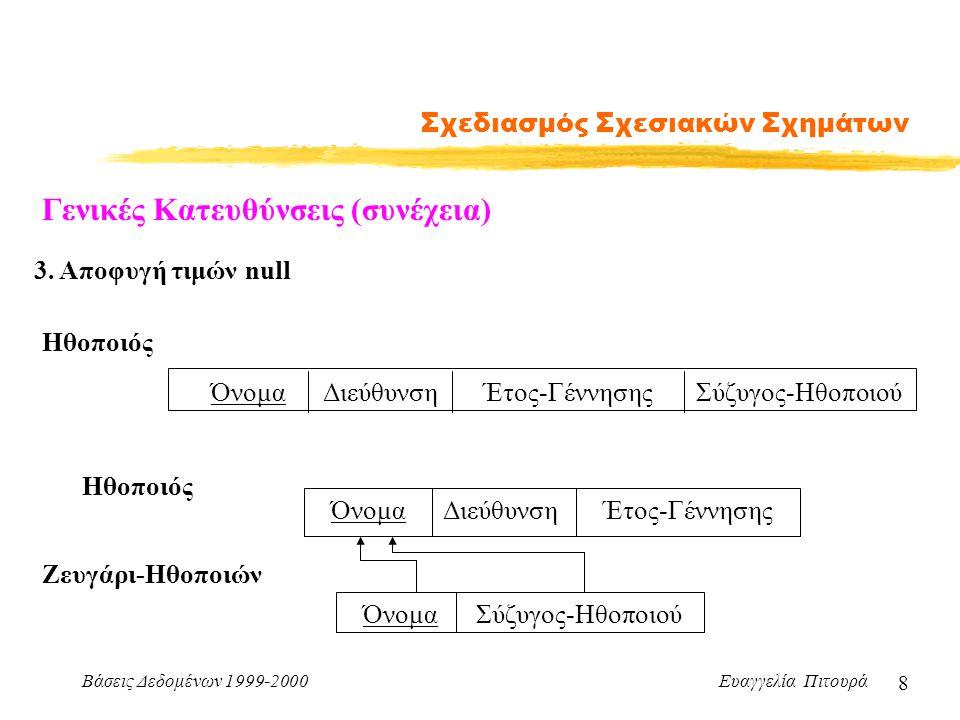 Βάσεις Δεδομένων 1999-2000 Ευαγγελία Πιτουρά 19 Σχεδιασμός Σχεσιακών Σχημάτων Παράδειγμα: R= {Τίτλος, Έτος, Διάρκεια, Είδος, Όνομα-Ηθοποιού, Διεύθυνση, Έτος-Γέννησης} Τίτλος Έτος  Διάρκεια Τίτλος Έτος  Είδος Όνομα Ηθοποιού  Διεύθυνση Όνομα-Ηθοποιού  Έτος Γέννησης R 1 = {Τίτλος, Έτος, Διάρκεια, Είδος} R 2 = {Τίτλος, Έτος, Όνομα- Ηθοποιού, Διεύθυνση, Έτος- Γέννησης} Επιθυμητές Ιδιότητες Αποσύνθεσης (συνέχεια) 1.