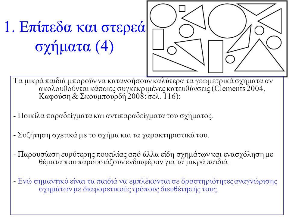 1. Επίπεδα και στερεά σχήματα (4) Τα μικρά παιδιά μπορούν να κατανοήσουν καλύτερα τα γεωμετρικά σχήματα αν ακολουθούνται κάποιες συγκεκριμένες κατευθύ