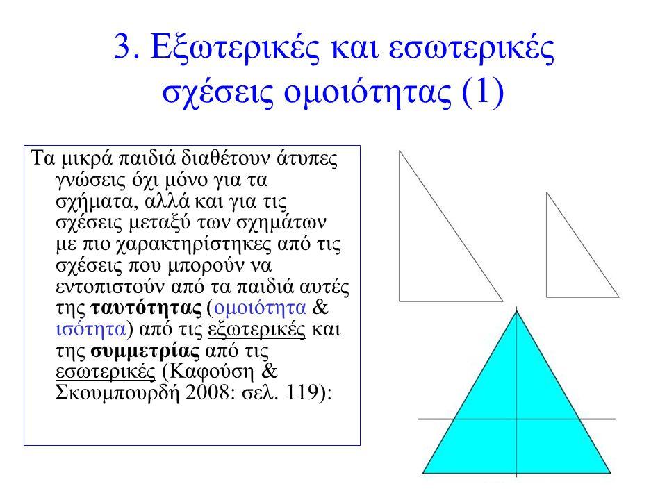 3. Εξωτερικές και εσωτερικές σχέσεις ομοιότητας (1) Τα μικρά παιδιά διαθέτουν άτυπες γνώσεις όχι μόνο για τα σχήματα, αλλά και για τις σχέσεις μεταξύ