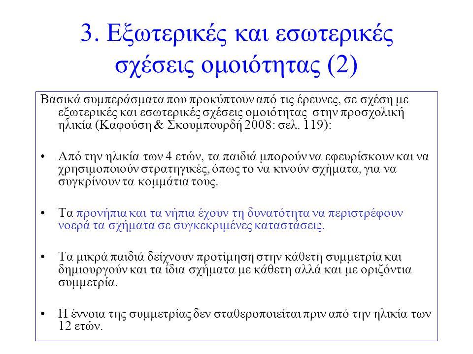 3. Εξωτερικές και εσωτερικές σχέσεις ομοιότητας (2) Βασικά συμπεράσματα που προκύπτουν από τις έρευνες, σε σχέση με εξωτερικές και εσωτερικές σχέσεις