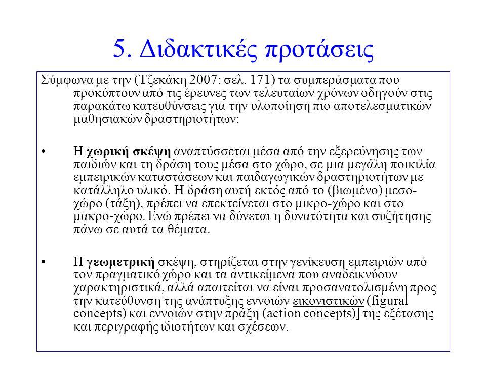 5. Διδακτικές προτάσεις Σύμφωνα με την (Τζεκάκη 2007: σελ. 171) τα συμπεράσματα που προκύπτουν από τις έρευνες των τελευταίων χρόνων οδηγούν στις παρα