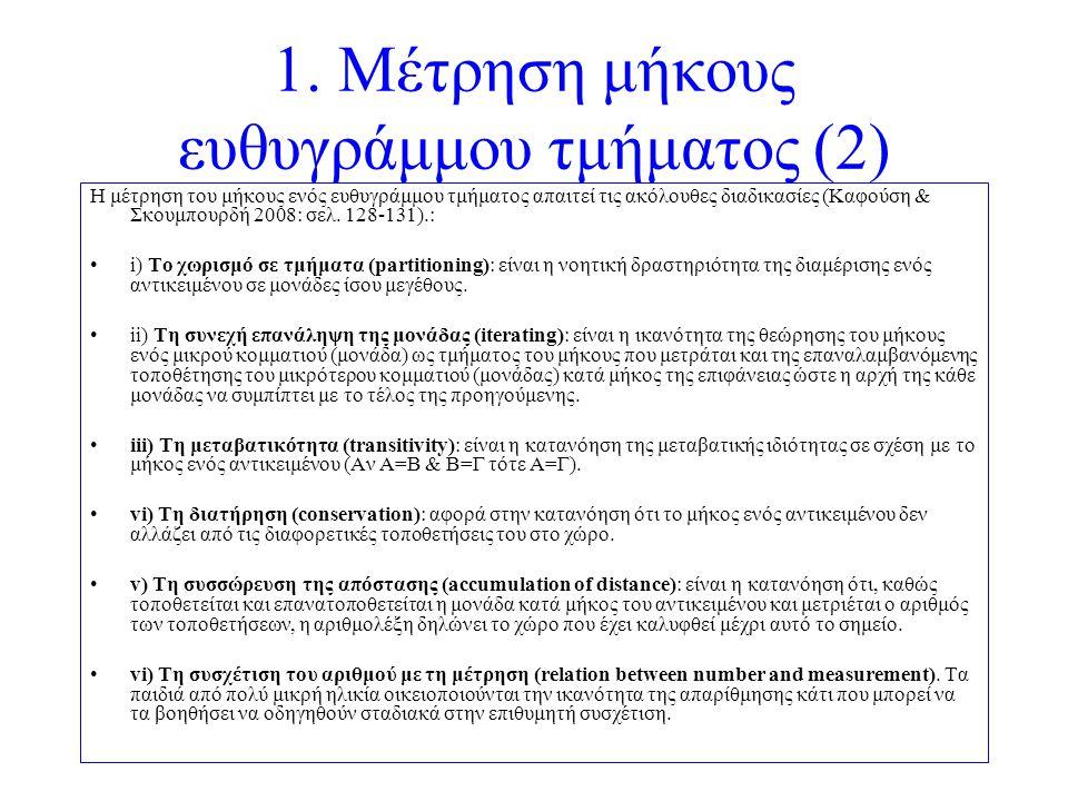 1. Μέτρηση μήκους ευθυγράμμου τμήματος (2) Η μέτρηση του μήκους ενός ευθυγράμμου τμήματος απαιτεί τις ακόλουθες διαδικασίες (Καφούση & Σκουμπουρδή 200