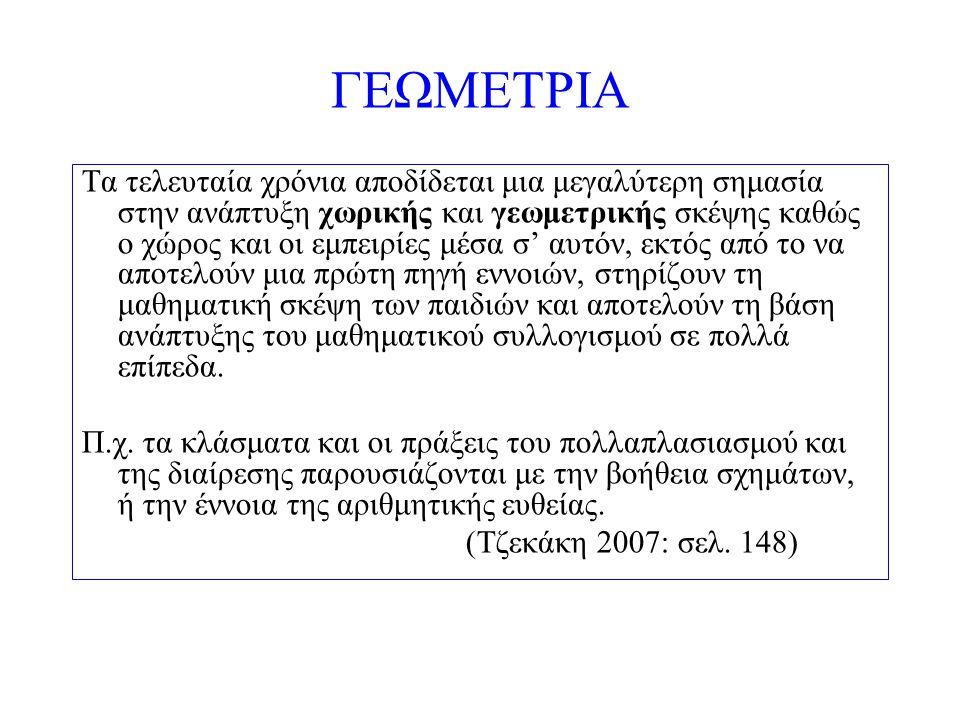 ΜΕΤΡΗΣΗ Δυο βασικά θέματα που σχετίζονται με τη μέτρηση είναι η αναγνώριση της μονάδας μέτρησης (συνεπώς και οι υποδιαιρέσεις της με βάση αυτή τη μονάδα) και ο τρόπος τοποθέτησης (με συνεχή επανάληψη) αυτής της μονάδας (Καφούση & Σκουμπουρδή 2008: σελ.