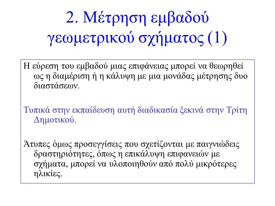 2. Μέτρηση εμβαδού γεωμετρικού σχήματος (1) Η εύρεση του εμβαδού μιας επιφάνειας μπορεί να θεωρηθεί ως η διαμέριση ή η κάλυψη με μια μονάδας μέτρησης
