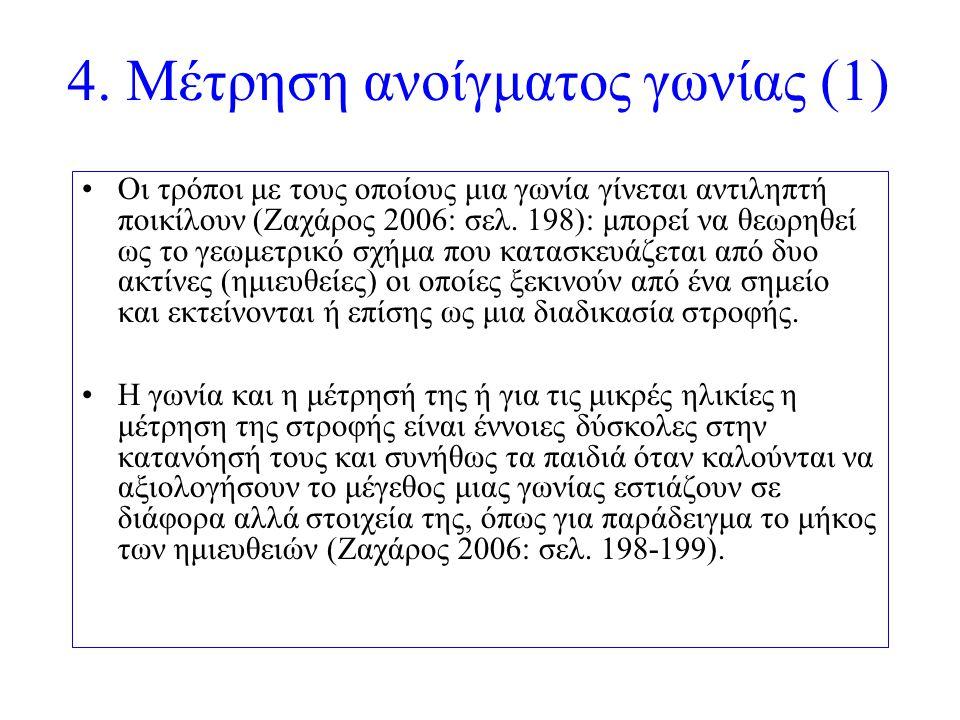 4. Μέτρηση ανοίγματος γωνίας (1) Οι τρόποι με τους οποίους μια γωνία γίνεται αντιληπτή ποικίλουν (Ζαχάρος 2006: σελ. 198): μπορεί να θεωρηθεί ως το γε