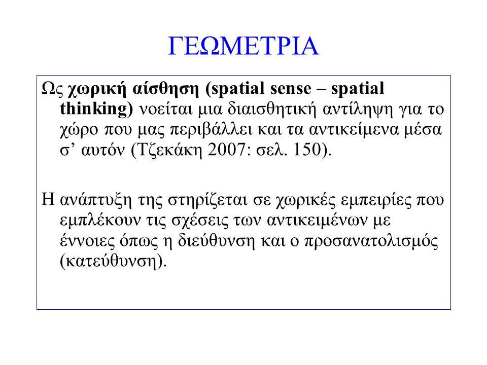 ΓΕΩΜΕΤΡΙΑ Ως γεωμετρική σκέψη (geometrical sense – geometrical thinking) νοείται η νοητική δραστηριότητα που οργανώνει και επεξεργάζεται τα στοιχεία του βιωμένου χώρου ώτσε να τα μετασχηματίσει σε γεωμετρικά αντικείμενα και σχέσεις (Τζεκάκη 2007: σελ.