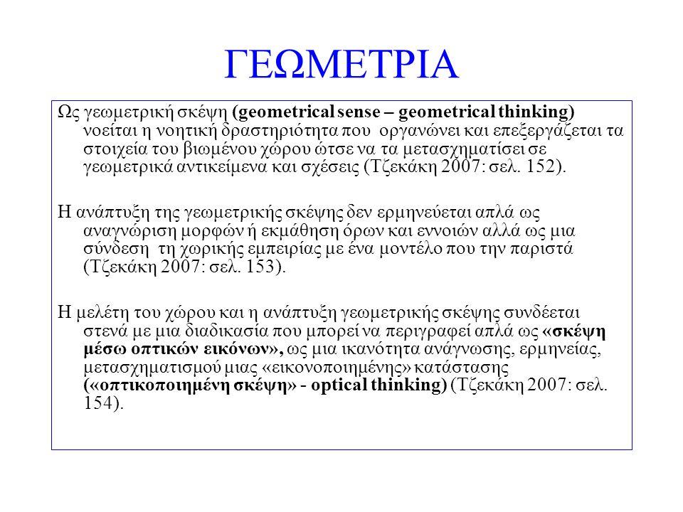 ΓΕΩΜΕΤΡΙΑ Ως γεωμετρική σκέψη (geometrical sense – geometrical thinking) νοείται η νοητική δραστηριότητα που οργανώνει και επεξεργάζεται τα στοιχεία τ