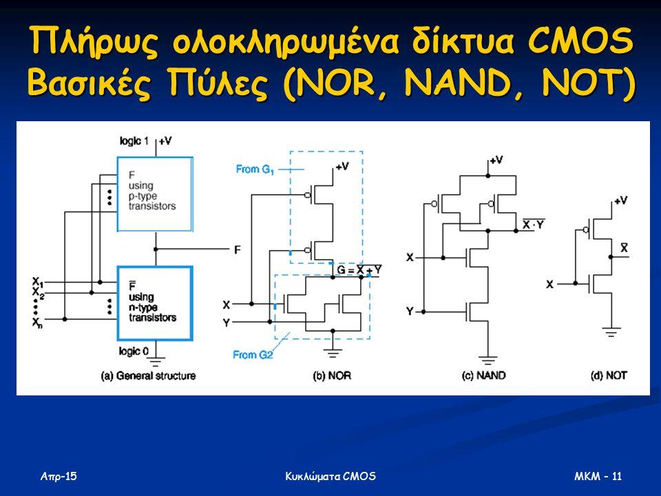 Απρ-15 MKM - 11Κυκλώματα CMOS Πλήρως ολοκληρωμένα δίκτυα CMOS Βασικές Πύλες (NOR, NAND, NOT)