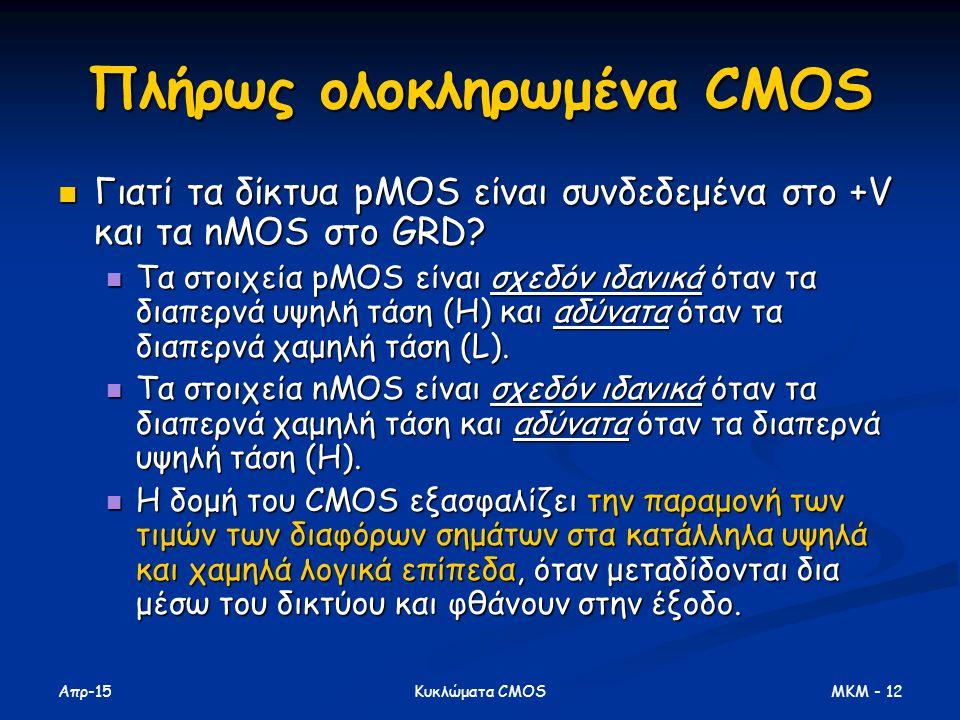 Απρ-15 MKM - 12Κυκλώματα CMOS Πλήρως ολοκληρωμένα CMOS Γιατί τα δίκτυα pMOS είναι συνδεδεμένα στο +V και τα nMOS στο GRD? Γιατί τα δίκτυα pMOS είναι σ