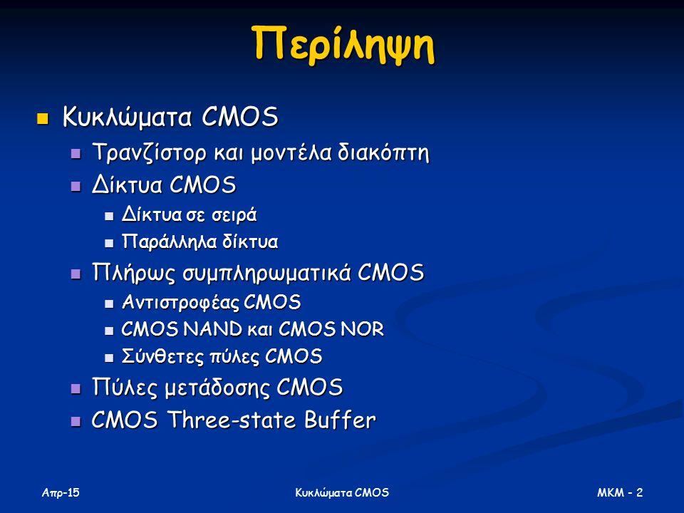Απρ-15 MKM - 2Κυκλώματα CMOSΠερίληψη Κυκλώματα CMOS Κυκλώματα CMOS Τρανζίστορ και μοντέλα διακόπτη Τρανζίστορ και μοντέλα διακόπτη Δίκτυα CMOS Δίκτυα CMOS Δίκτυα σε σειρά Δίκτυα σε σειρά Παράλληλα δίκτυα Παράλληλα δίκτυα Πλήρως συμπληρωματικά CMOS Πλήρως συμπληρωματικά CMOS Αντιστροφέας CMOS Αντιστροφέας CMOS CMOS NAND και CMOS NOR CMOS NAND και CMOS NOR Σύνθετες πύλες CMOS Σύνθετες πύλες CMOS Πύλες μετάδοσης CMOS Πύλες μετάδοσης CMOS CMOS Three-state Buffer CMOS Three-state Buffer