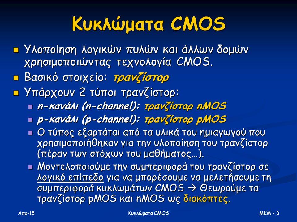 Απρ-15 MKM - 3Κυκλώματα CMOS Υλοποίηση λογικών πυλών και άλλων δομών χρησιμοποιώντας τεχνολογία CMOS. Υλοποίηση λογικών πυλών και άλλων δομών χρησιμοπ