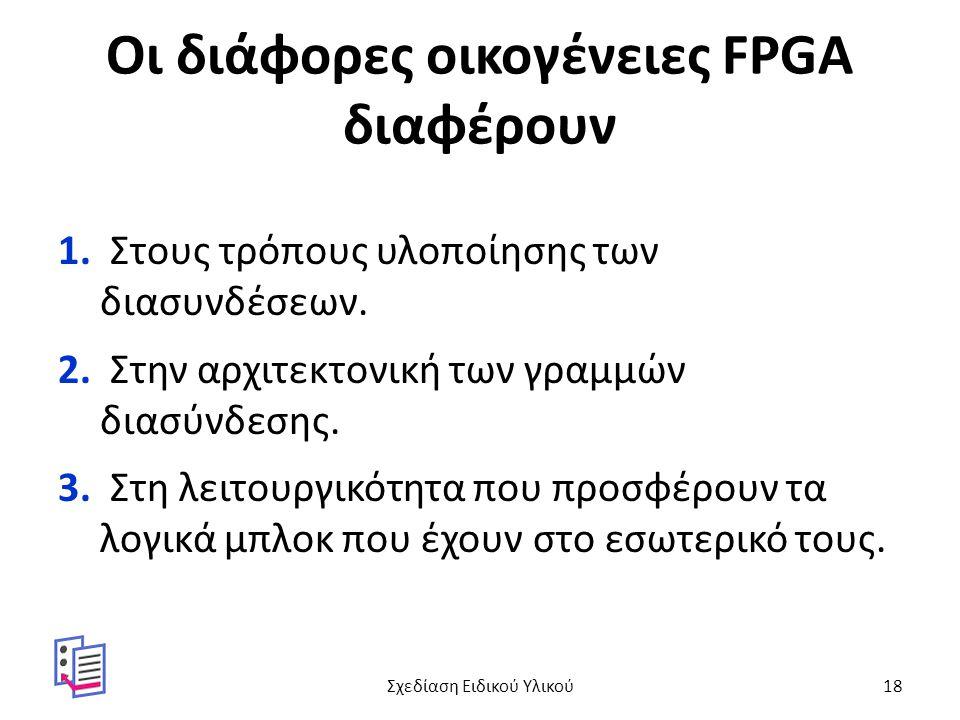 Οι διάφορες οικογένειες FPGA διαφέρουν 1. Στους τρόπους υλοποίησης των διασυνδέσεων. 2. Στην αρχιτεκτονική των γραμμών διασύνδεσης. 3. Στη λειτουργικό