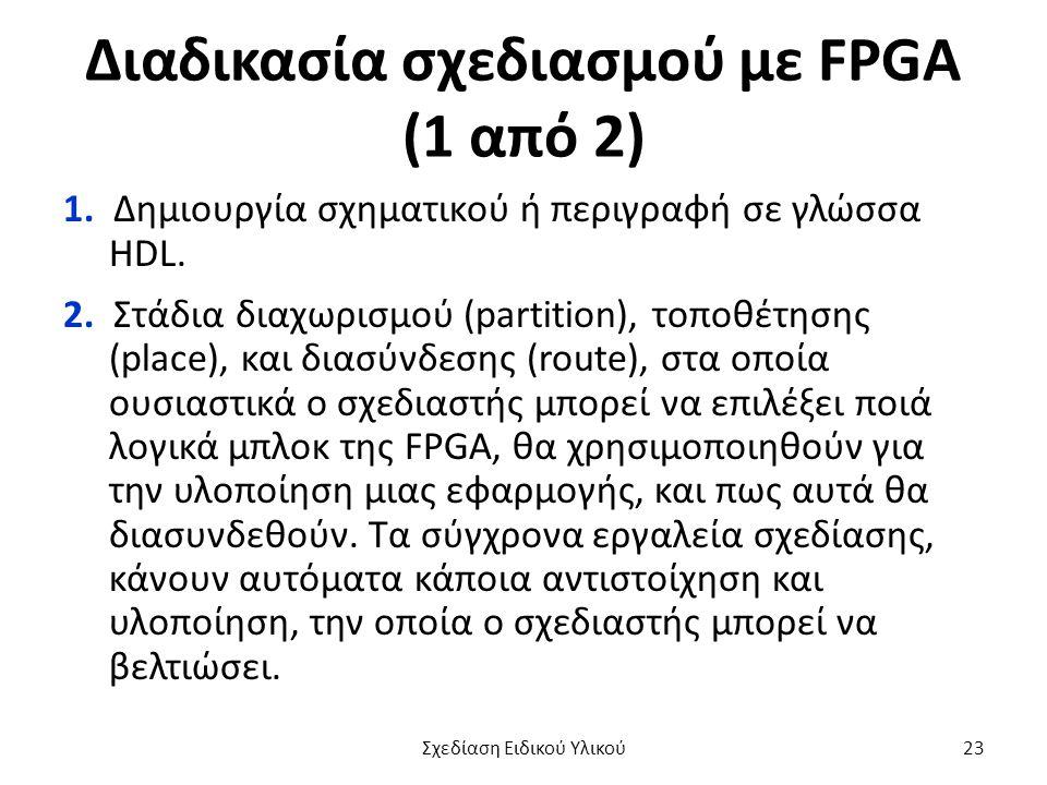 Διαδικασία σχεδιασμού με FPGA (1 από 2) 1. Δημιουργία σχηματικού ή περιγραφή σε γλώσσα HDL. 2. Στάδια διαχωρισμού (partition), τοποθέτησης (place), κα