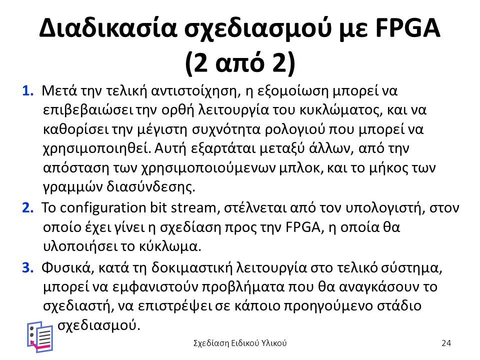 Διαδικασία σχεδιασμού με FPGA (2 από 2) 1. Μετά την τελική αντιστοίχηση, η εξομοίωση μπορεί να επιβεβαιώσει την ορθή λειτουργία του κυκλώματος, και να