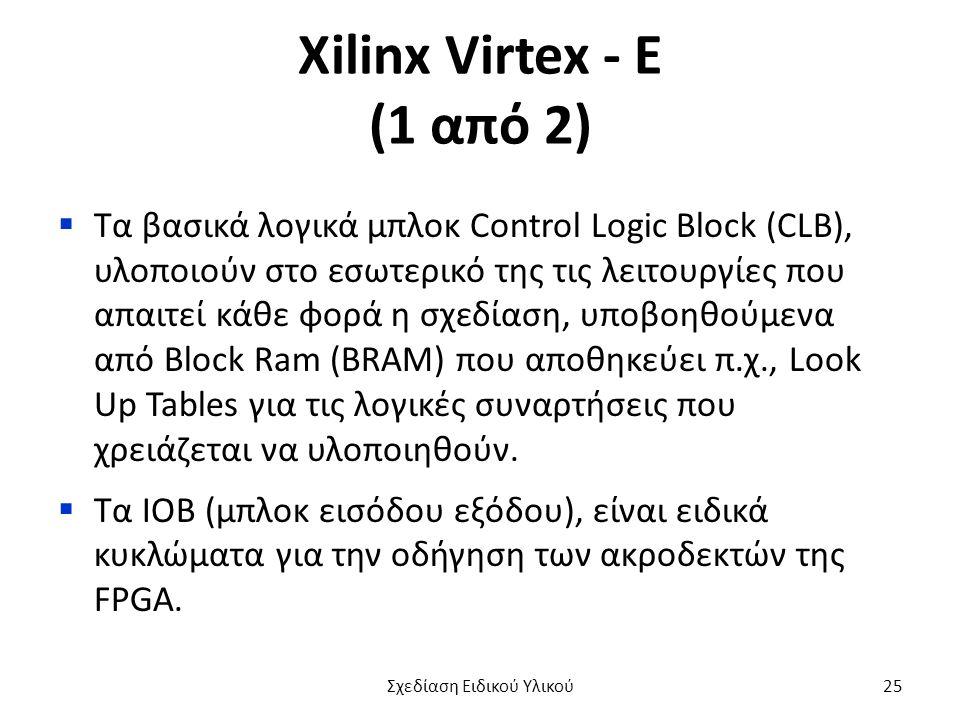 Xilinx Virtex - E (1 από 2)  Τα βασικά λογικά μπλοκ Control Logic Block (CLB), υλοποιούν στο εσωτερικό της τις λειτουργίες που απαιτεί κάθε φορά η σχ