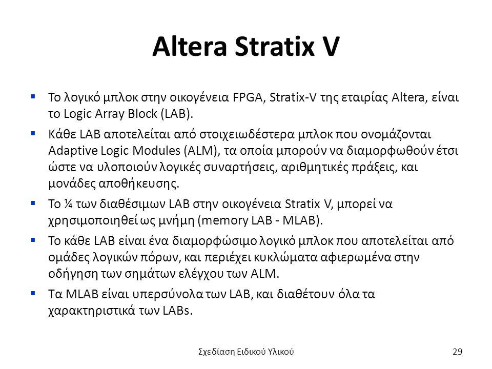 Altera Stratix V  Το λογικό μπλοκ στην οικογένεια FPGA, Stratix-V της εταιρίας Altera, είναι το Logic Array Block (LAB).  Κάθε LAB αποτελείται από σ