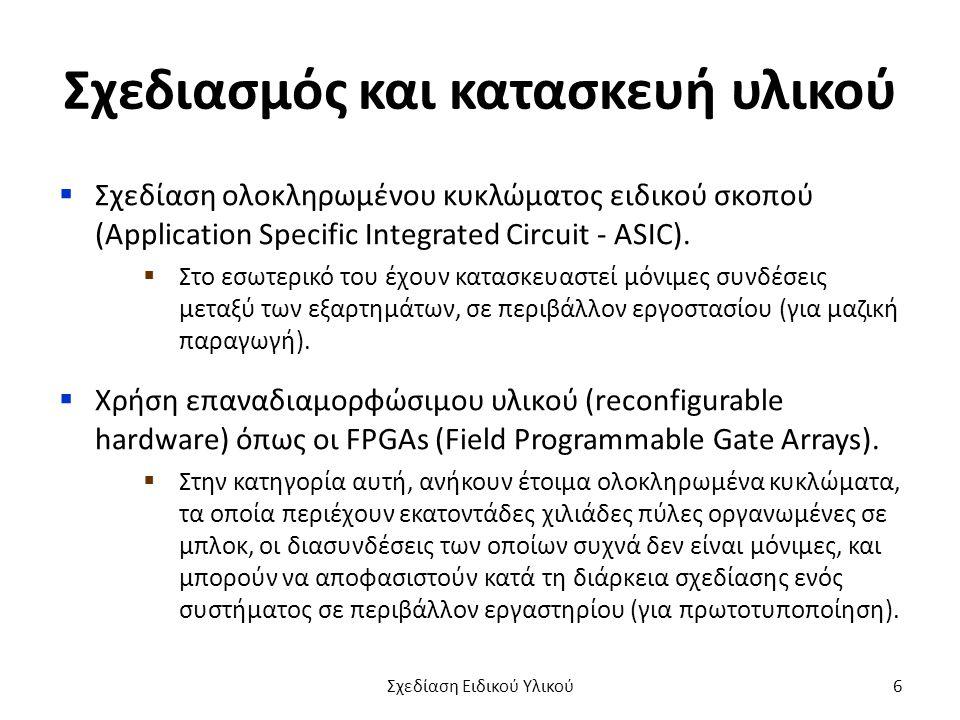 Σχεδιασμός και κατασκευή υλικού  Σχεδίαση ολοκληρωμένου κυκλώματος ειδικού σκοπού (Application Specific Integrated Circuit - ASIC).  Στο εσωτερικό τ