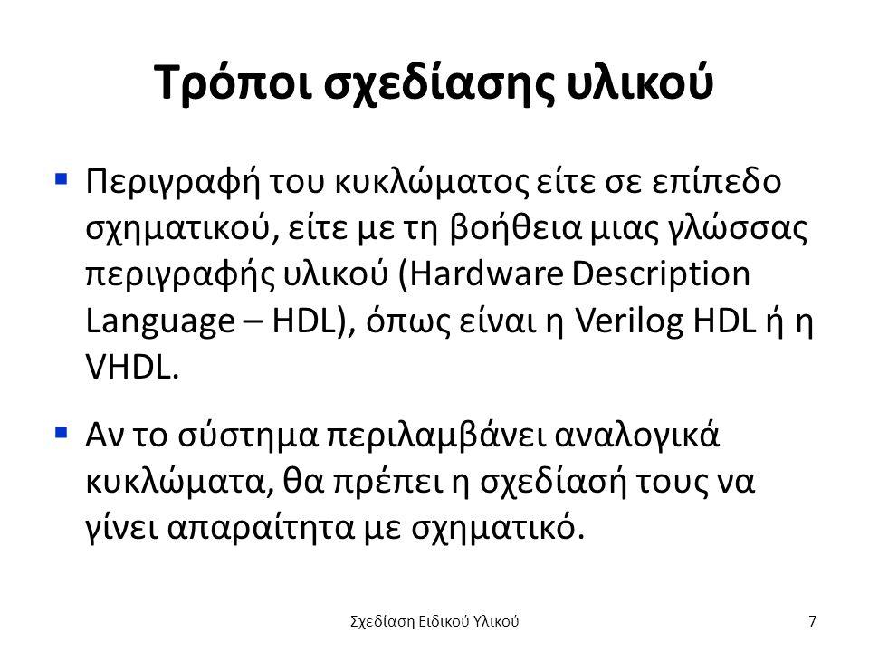 Τρόποι σχεδίασης υλικού  Περιγραφή του κυκλώματος είτε σε επίπεδο σχηματικού, είτε με τη βοήθεια μιας γλώσσας περιγραφής υλικού (Hardware Description