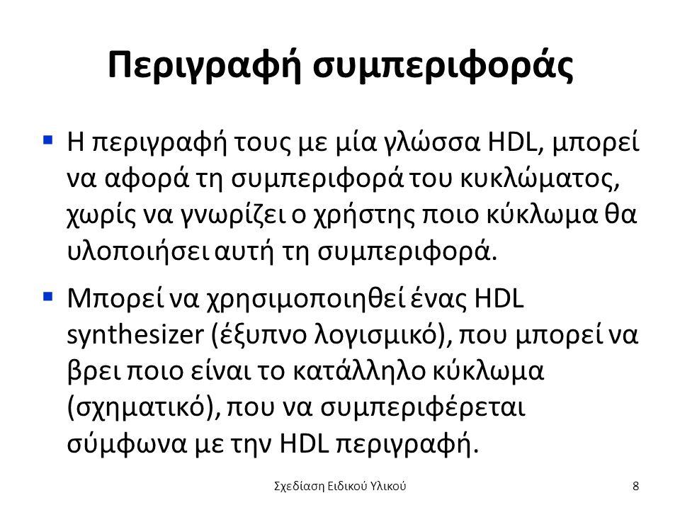 Περιγραφή συμπεριφοράς  Η περιγραφή τους με μία γλώσσα HDL, μπορεί να αφορά τη συμπεριφορά του κυκλώματος, χωρίς να γνωρίζει ο χρήστης ποιο κύκλωμα θ