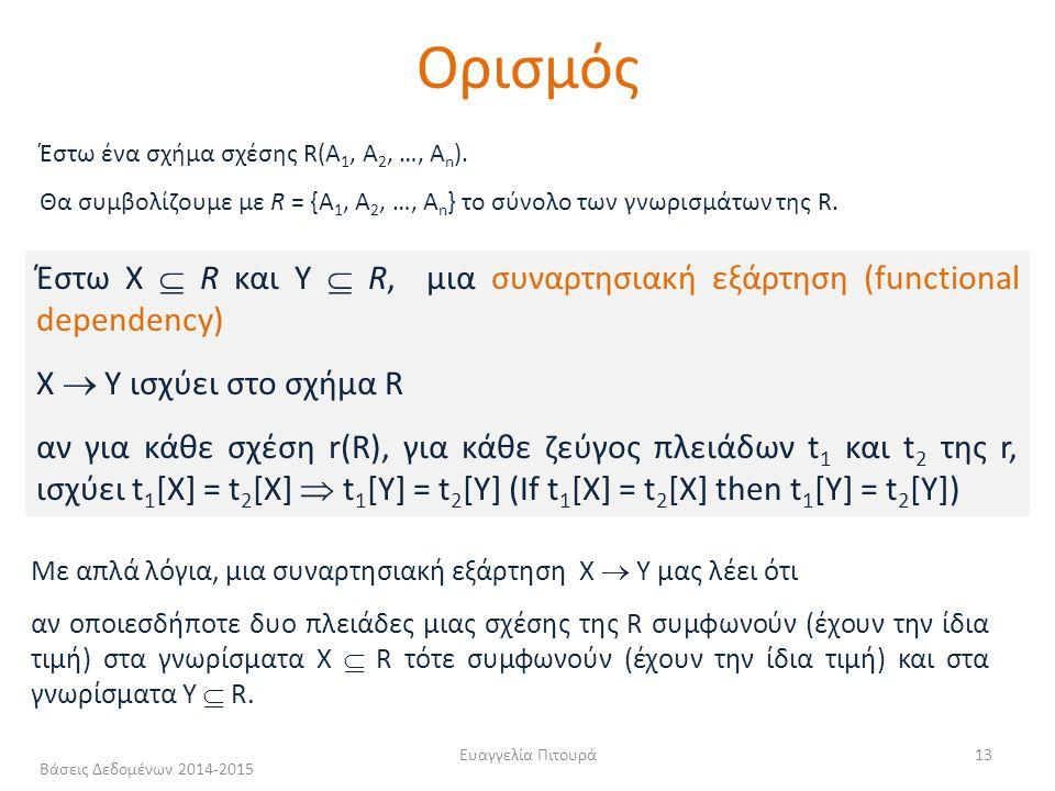 Ευαγγελία Πιτουρά13 Έστω X  R και Y  R, μια συναρτησιακή εξάρτηση (functional dependency) Χ  Υ ισχύει στο σχήμα R αν για κάθε σχέση r(R), για κάθε ζεύγος πλειάδων t 1 και t 2 της r, ισχύει t 1 [X] = t 2 [X]  t 1 [Y] = t 2 [Y] (If t 1 [X] = t 2 [X] then t 1 [Y] = t 2 [Y]) Με απλά λόγια, μια συναρτησιακή εξάρτηση X  Y μας λέει ότι αν οποιεσδήποτε δυο πλειάδες μιας σχέσης της R συμφωνούν (έχουν την ίδια τιμή) στα γνωρίσματα Χ  R τότε συμφωνούν (έχουν την ίδια τιμή) και στα γνωρίσματα Y  R.