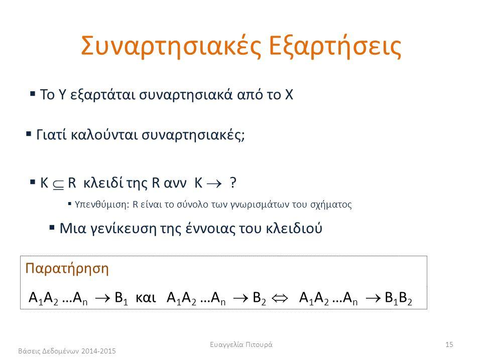 Ευαγγελία Πιτουρά15  To Y εξαρτάται συναρτησιακά από το X  Γιατί καλούνται συναρτησιακές;  Κ  R κλειδί της R ανν K  .