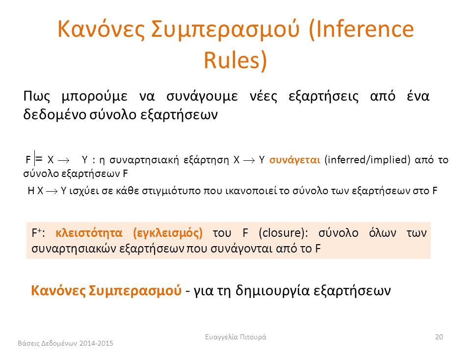Ευαγγελία Πιτουρά20 Πως μπορούμε να συνάγουμε νέες εξαρτήσεις από ένα δεδομένο σύνολο εξαρτήσεων F X  Y : η συναρτησιακή εξάρτηση X  Y συνάγεται (inferred/implied) από το σύνολο εξαρτήσεων F = Κανόνες Συμπερασμού (Inference Rules) F + : κλειστότητα (εγκλεισμός) του F (closure): σύνολο όλων των συναρτησιακών εξαρτήσεων που συνάγονται από το F Κανόνες Συμπερασμού - για τη δημιουργία εξαρτήσεων H Χ  Υ ισχύει σε κάθε στιγμιότυπο που ικανοποιεί το σύνολο των εξαρτήσεων στο F Βάσεις Δεδομένων 2014-2015