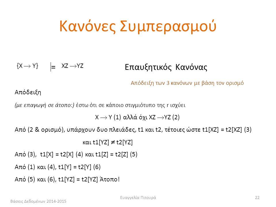 Ευαγγελία Πιτουρά22 {X  Y} ΧΖ  YZ =Επαυξητικός Κανόνας Απόδειξη (με επαγωγή σε άτοπο:) έστω ότι σε κάποιο στιγμιότυπο της r ισχύει X  Y (1) αλλά όχι ΧΖ  YZ (2) Από (2 & ορισμό), υπάρχουν δυο πλειάδες, t1 και t2, τέτοιες ώστε t1[XZ] = t2[XZ] (3) και t1[YZ]  t2[YZ] Από (3), t1[X] = t2[X] (4) και t1[Z] = t2[Z] (5) Από (1) και (4), t1[Y] = t2[Υ] (6) Από (5) και (6), t1[ΥZ] = t2[ΥZ] Άτοπο.