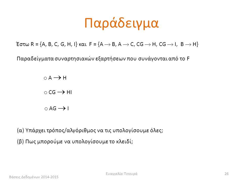 Ευαγγελία Πιτουρά26 Έστω R = {A, B, C, G, H, I} και F = {A  B, A  C, CG  H, CG  I, B  H} Παραδείγματα συναρτησιακών εξαρτήσεων που συνάγονται από το F o Α  Η o CG  ΗI o ΑG  I (α) Υπάρχει τρόπος/αλγόριθμος να τις υπολογίσουμε όλες; (β) Πως μπορούμε να υπολογίσουμε το κλειδί; Παράδειγμα Βάσεις Δεδομένων 2014-2015