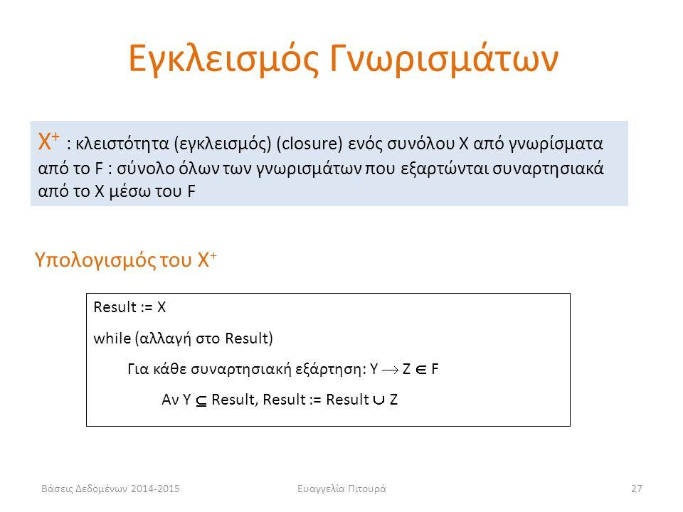 Ευαγγελία Πιτουρά27 Χ + : κλειστότητα (εγκλεισμός) (closure) ενός συνόλου X από γνωρίσματα από το F : σύνολο όλων των γνωρισμάτων που εξαρτώνται συναρτησιακά από το X μέσω του F Υπολογισμός του Χ + Result := Χ while (αλλαγή στο Result) Για κάθε συναρτησιακή εξάρτηση: Υ  Ζ  F Αν Υ  Result, Result := Result  Z Εγκλεισμός Γνωρισμάτων