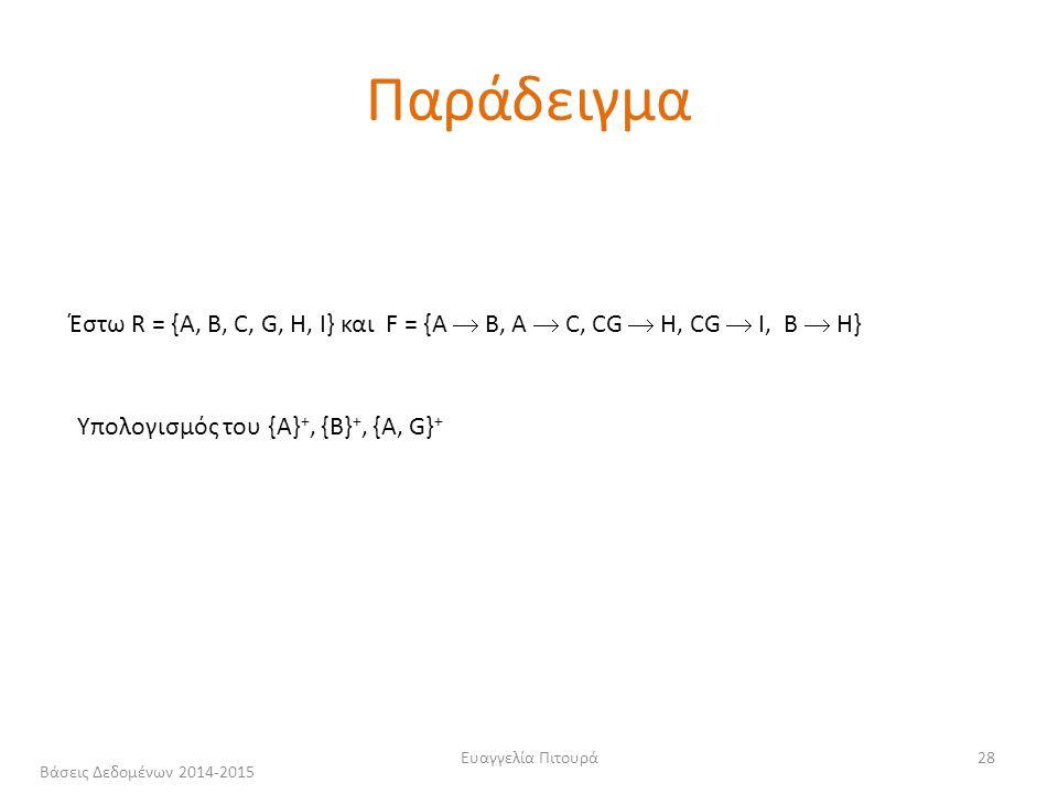 Ευαγγελία Πιτουρά28 Έστω R = {A, B, C, G, H, I} και F = {A  B, A  C, CG  H, CG  I, B  H} Υπολογισμός του {Α} +, {Β} +, {A, G} + Παράδειγμα Βάσεις Δεδομένων 2014-2015