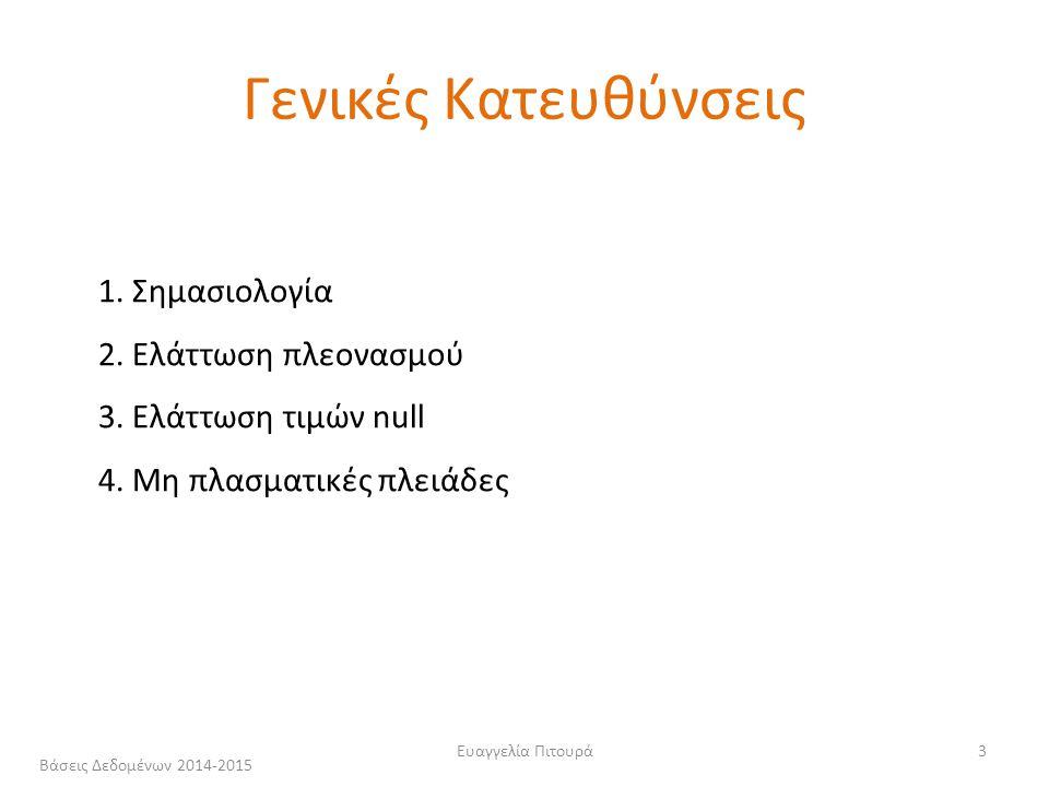 Ευαγγελία Πιτουρά3 1. Σημασιολογία 2. Ελάττωση πλεονασμού 3.