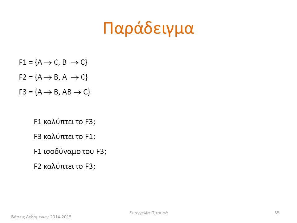 Ευαγγελία Πιτουρά35 F1 = {A  C, B  C} F2 = {A  B, A  C} F3 = {A  B, AB  C} F1 καλύπτει το F3; F3 καλύπτει το F1; F1 ισοδύναμο του F3; F2 καλύπτει το F3; Παράδειγμα Βάσεις Δεδομένων 2014-2015