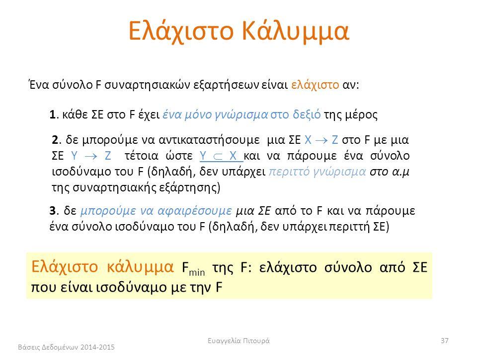 Ευαγγελία Πιτουρά37 Ένα σύνολο F συναρτησιακών εξαρτήσεων είναι ελάχιστο αν: 1.
