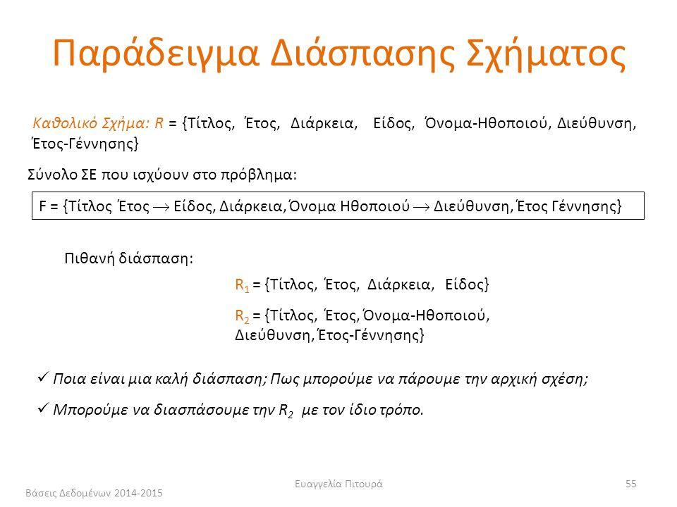 Ευαγγελία Πιτουρά55 Καθολικό Σχήμα: R = {Τίτλος, Έτος, Διάρκεια, Είδος, Όνομα-Ηθοποιού, Διεύθυνση, Έτος-Γέννησης} F = {Τίτλος Έτος  Είδος, Διάρκεια, Όνομα Ηθοποιού  Διεύθυνση, Έτος Γέννησης} R 1 = {Τίτλος, Έτος, Διάρκεια, Είδος} R 2 = {Τίτλος, Έτος, Όνομα-Ηθοποιού, Διεύθυνση, Έτος-Γέννησης} Ποια είναι μια καλή διάσπαση; Πως μπορούμε να πάρουμε την αρχική σχέση; Μπορούμε να διασπάσουμε την R 2 με τον ίδιο τρόπο.