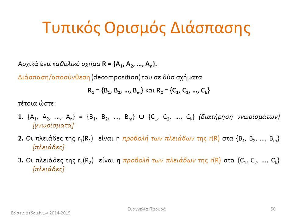 Ευαγγελία Πιτουρά56 Αρχικά ένα καθολικό σχήμα R = {A 1, A 2, …, A n }.