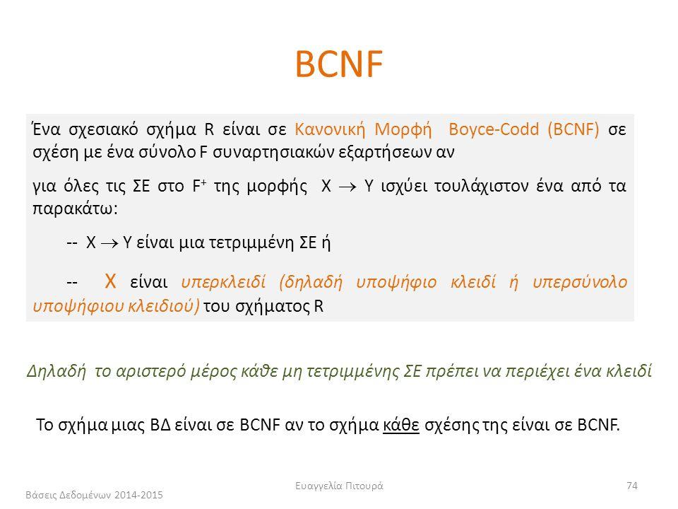 Ευαγγελία Πιτουρά74 Ένα σχεσιακό σχήμα R είναι σε Κανονική Μορφή Boyce-Codd (BCNF) σε σχέση με ένα σύνολο F συναρτησιακών εξαρτήσεων αν για όλες τις ΣΕ στο F + της μορφής X  Y ισχύει τουλάχιστον ένα από τα παρακάτω: -- X  Y είναι μια τετριμμένη ΣΕ ή -- X είναι υπερκλειδί (δηλαδή υποψήφιο κλειδί ή υπερσύνολο υποψήφιου κλειδιού) του σχήματος R Δηλαδή το αριστερό μέρος κάθε μη τετριμμένης ΣΕ πρέπει να περιέχει ένα κλειδί Το σχήμα μιας ΒΔ είναι σε BCNF αν το σχήμα κάθε σχέσης της είναι σε BCNF.