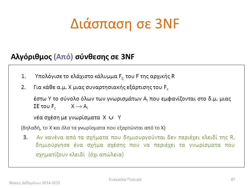 Ευαγγελία Πιτουρά87 Αλγόριθμος (Από) σύνθεσης σε 3NF 1.
