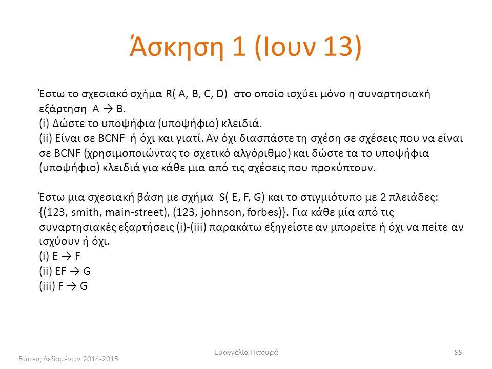 Ευαγγελία Πιτουρά99 Άσκηση 1 (Ιουν 13) Έστω το σχεσιακό σχήμα R( A, B, C, D) στο οποίο ισχύει μόνο η συναρτησιακή εξάρτηση A → B.