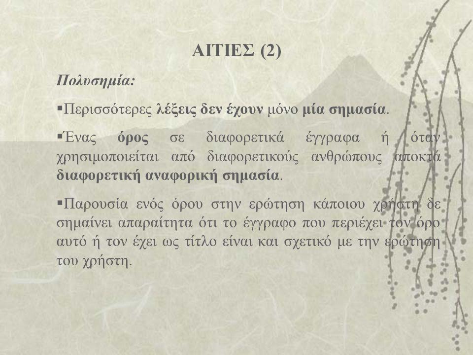 ΑΙΤΙΕΣ (2) Πολυσημία:  Περισσότερες λέξεις δεν έχουν μόνο μία σημασία.