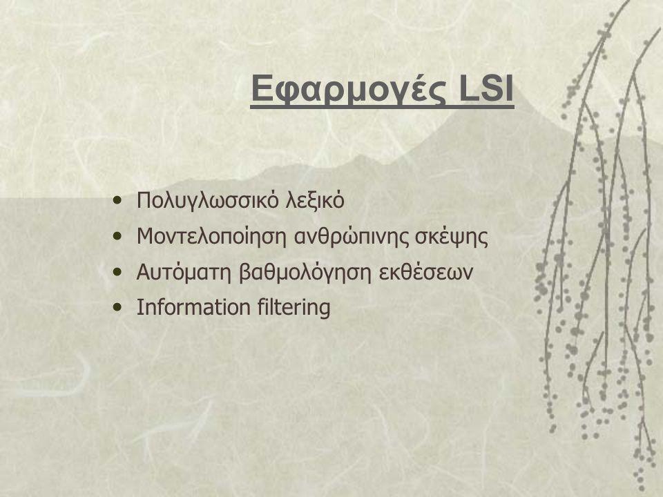 Εφαρμογές LSI Πολυγλωσσικό λεξικό Μοντελοποίηση ανθρώπινης σκέψης Αυτόματη βαθμολόγηση εκθέσεων Information filtering