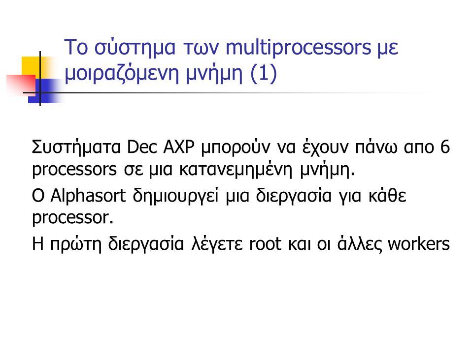 Το σύστημα των multiprocessors με μοιραζόμενη μνήμη (1) Συστήματα Dec AXP μπορούν να έχουν πάνω απο 6 processors σε μια κατανεμημένη μνήμη. Ο Αlphasor