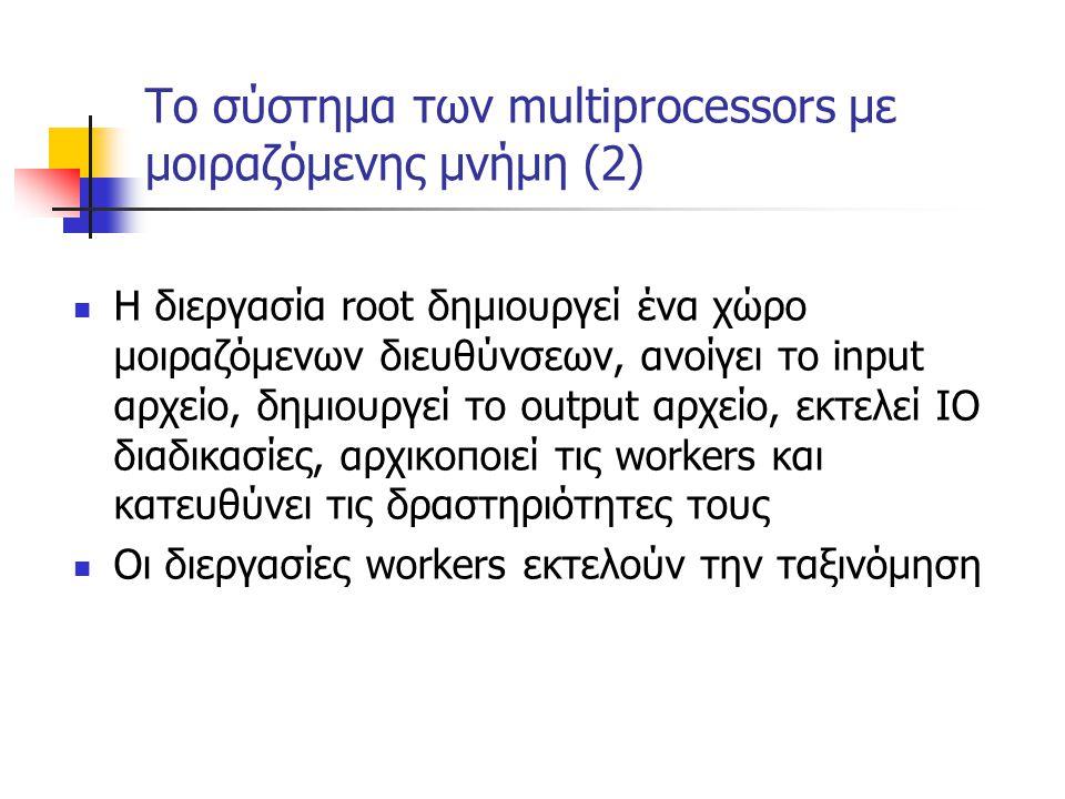 Το σύστημα των multiprocessors με μοιραζόμενης μνήμη (2) Η διεργασία root δημιουργεί ένα χώρο μοιραζόμενων διευθύνσεων, ανοίγει το input αρχείο, δημιο