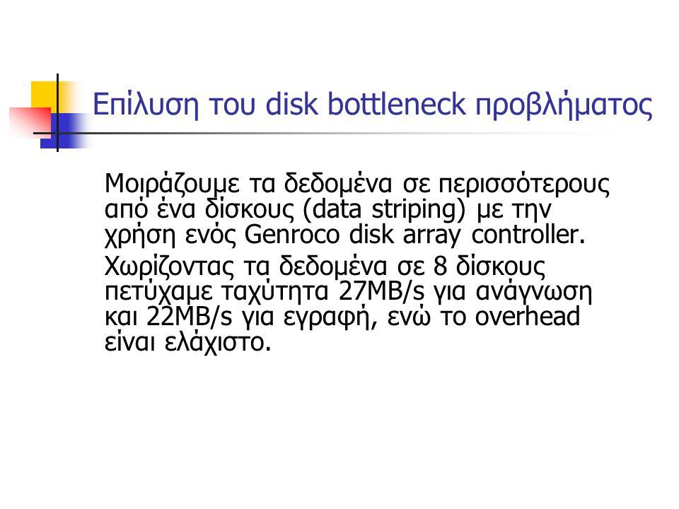 Επίλυση του disk bottleneck προβλήματος Μοιράζουμε τα δεδομένα σε περισσότερους από ένα δίσκους (data striping) με την χρήση ενός Genroco disk array c