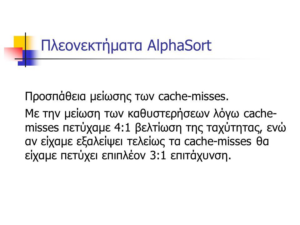 Πλεονεκτήματα AlphaSort Προσπάθεια μείωσης των cache-misses. Mε την μείωση των καθυστερήσεων λόγω cache- misses πετύχαμε 4:1 βελτίωση της ταχύτητας, ε