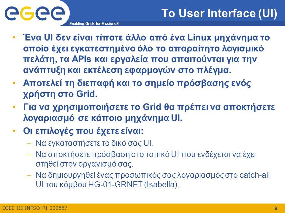 Enabling Grids for E-sciencE EGEE-III INFSO-RI-222667 9 Το User Interface (UI) Ένα UI δεν είναι τίποτε άλλο από ένα Linux μηχάνημα το οποίο έχει εγκατεστημένο όλο το απαραίτητο λογισμικό πελάτη, τα APIs και εργαλεία που απαιτούνται για την ανάπτυξη και εκτέλεση εφαρμογών στο πλέγμα.