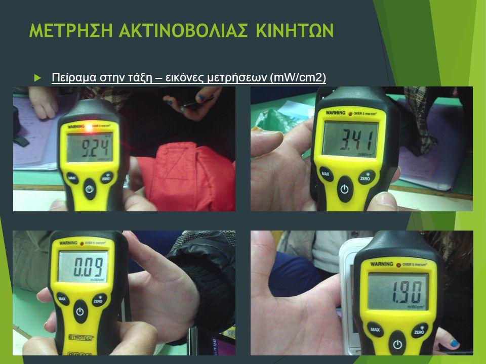 ΜΕΤΡΗΣΗ ΑΚΤΙΝΟΒΟΛΙΑΣ ΚΙΝΗΤΩΝ  Πείραμα στην τάξη – εικόνες μετρήσεων (mW/cm2)