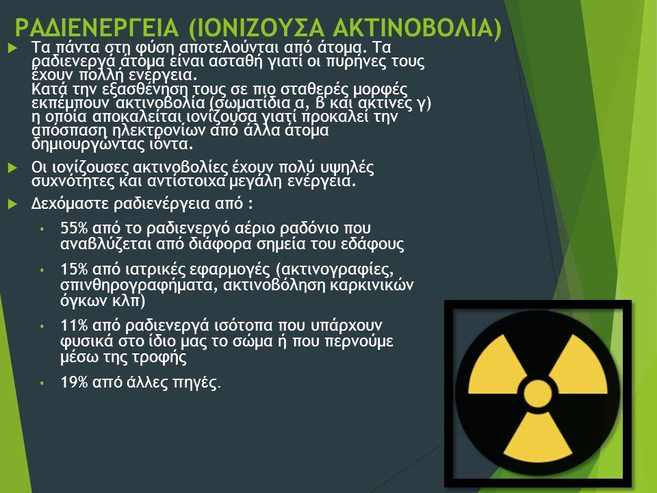 ΡΑΔΙΕΝΕΡΓΕΙΑ (ΙΟΝΙΖΟΥΣΑ ΑΚΤΙΝΟΒΟΛΙΑ)  Τα πάντα στη φύση αποτελούνται από άτομα. Τα ραδιενεργά άτομα είναι ασταθή γιατί οι πυρήνες τους έχουν πολλή εν