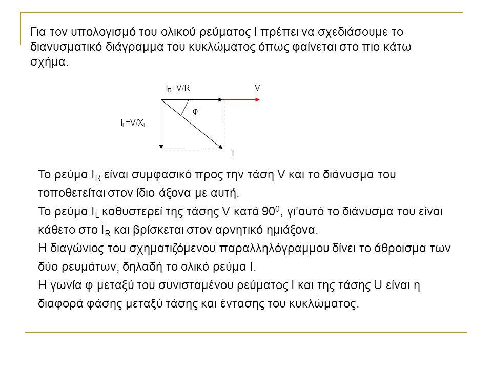 Για τον υπολογισμό του ολικού ρεύματος Ι πρέπει να σχεδιάσουμε το διανυσματικό διάγραμμα του κυκλώματος όπως φαίνεται στο πιο κάτω σχήμα. I R =V/R I L